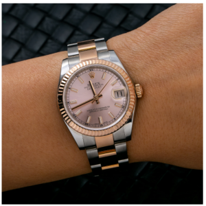 ROLEX DATEJUST MIDSIZE 178271 31MM PINK DIAL WITH TWO TONE ROSE OYSTER BRACELET