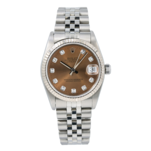 ROLEX DATEJUST WATCH 68274 31MM BROWN DIAMOND DIAL WITH STAINLESS STEEL JUBILEE