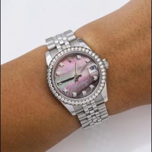 ROLEX DATEJUST 178384 WATCH 31MM MOP DIAMOND DIAL DIAMOND BEZEL JUBILEE BRACELET