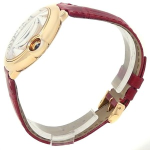 Cartier Ballon Bleu 18k Yellow Gold Red Leather Auto Silver Men's Watch W6900356