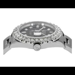 ROLEX DATEJUST 16200 36MM BLACK DIAMOND DIAL WITH STEEL OYSTER BRACELET