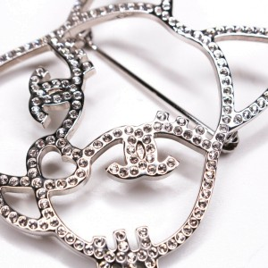 Chanel - New - 2016 Emoji Choupette Cat Brooch Pin - Rare Crystal CC Silver 16K