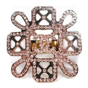 Chanel - New - 2017 Floral CC Crystal Ring - Rose Gold Monogram 17S  US 6.5 - 52