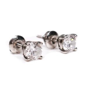 Tiffany - Diamond Earrings - 1.20 TCW Round Platinum Stud 950 - 5 mm