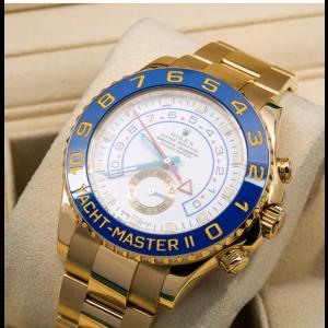 ROLEX YACHT MASTER II YELLOW GOLD WATCH - BLUE HANDS - 116688