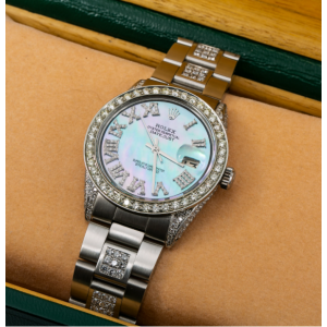 ROLEX DATEJUST DIAMOND WATCH, 1601 36MM, BLUE MOTHER OF PEARL DIAMOND DIAL