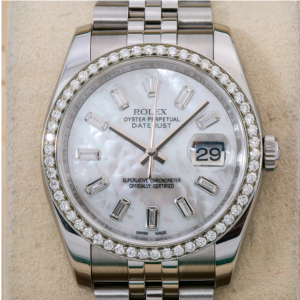 ROLEX DATEJUST 36MM WATCH, 116200 SILVER DIAMOND DIAL WITH DIAMOND BEZEL JUBILEE