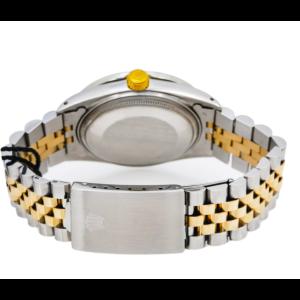 ROLEX DATEJUST 16013 36MM WHITE MOP DIAL DIAMOND BEZEL TWO TONE JUBILEE BRACELET