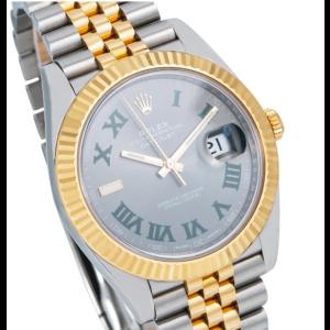 ROLEX DATEJUST 41 WATCH 126333 STEEL YELLOW GOLD JUBILEE BRACELET WIMBLEDON DIAL
