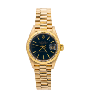 ROLEX LADY-DATEJUST 69178 26MM BLACK DIAL WITH YELLOW GOLD PRESIDENT BRACELET