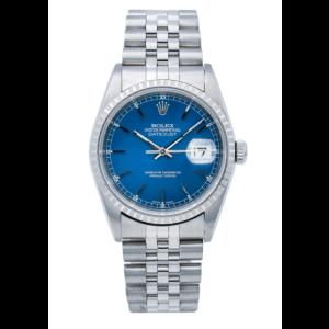 ROLEX DATEJUST WATCH 16620 36MM BLUE DIAL WITH STAINLESS STEEL JUBILEE BRACELET