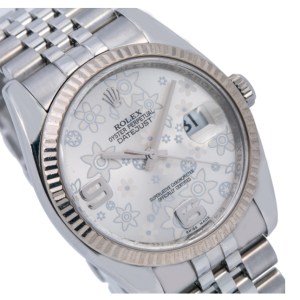 ROLEX DATEJUST 116234 SILVER FLORAL DIAL WITH STAINLESS STEEL JUBILEE BRACELET