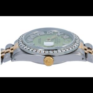ROLEX DATEJUST 36MM WATCH 1601 GREEN DIAMOND DIAL WITH TWO TONE BRACELET