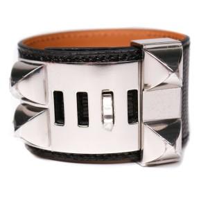 Hermes - New - CDC Bracelet - Lizard Black Leather Silver Stud Wide Adjustable