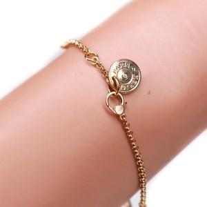 Hermes - New - Diamond Charm Bracelet - 18K Rose Gold H Logo Pendant