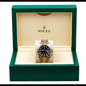 ROLEX GMT MASTER II TWO TONE WATCH BLACK DIAL CERAMIC BEZEL 116713 LN