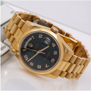 ROLEX DAY-DATE 36MM 118205 WATCH BLACK DIAL WITH YELLOW GOLD PRESIDENT BRACELET