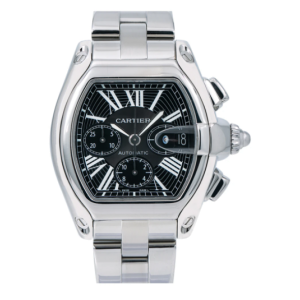 CARTIER ROADSTER CHRONOGRAPH WATCH XL SIZE W62020X6 BLACK DIAL STAINLESS STEEL