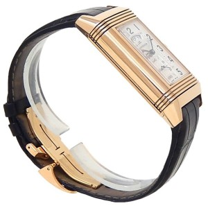 Jaeger-LeCoultre Grande Reverso 18k Rose Gold Leather Silver Mens Watch Q3742521