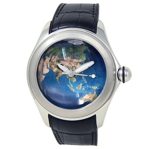 Corum Bubble Stainless Steel Black Rubber Automatic Blue Earth Watch