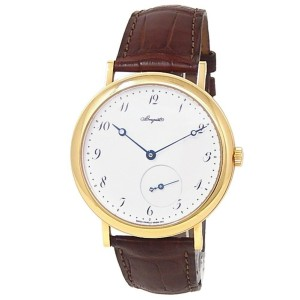 Breguet Classique 18k Yellow Gold Leather Auto White Men's Watch