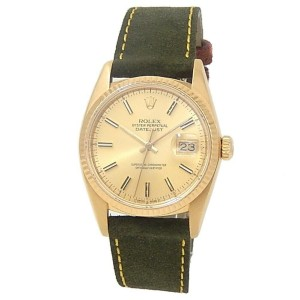 Rolex Datejust 18k Yellow Gold Green Suede Automatic Champagne Men's Watch