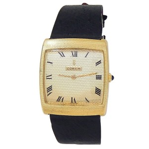 Corum Vintage Buckingham 18k Yellow Gold Leather Manual Champagne Ladies Watch