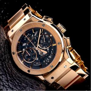 HUBLOT CLASSIC FUSION AERO KING WATCH 45MM517.OX.0180.LR ROSE GOLD SKELETON DIAL