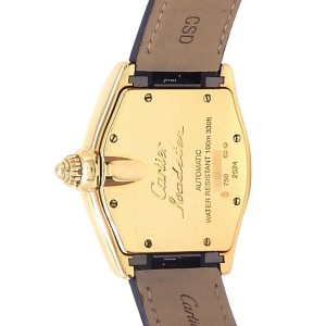 Cartier Roadster 18k Yellow Gold Black Leather Auto Silver Men's Watch