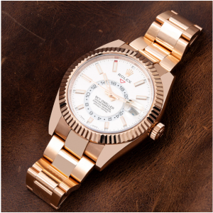 ROLEX SKYDWELLER WATCH 326935 WHITE DIAL ROSE GOLD  BOX AND CARD