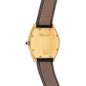 Chopard Classique Tonneau 18k Yellow Gold Leather Auto Silver Mens Watch 16/2248
