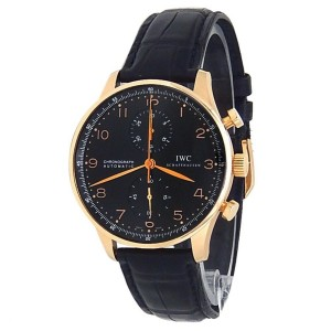 IWC Portuguese Chronograph 18k Rose Gold Leather Auto Black Men's Watch IW371482