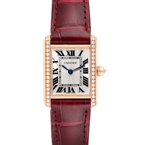Cartier Tank Louis Yellow Gold Diamond Brown Strap Ladies Watch WJTA0010