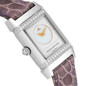 Jaeger LeCoultre Reverso Duetto Ladies Steel Diamond Watch 266.8.44