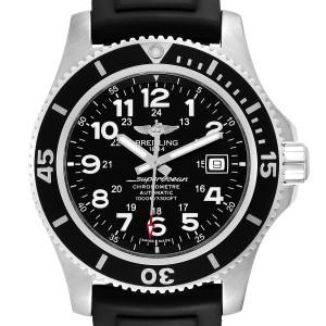 Breitling Superocean II 44 Black Dial Rubber Strap Mens Watch A17392