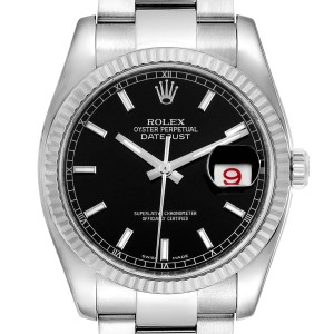 Rolex Datejust Steel White Gold Black Dial Mens Watch 116234 Box Card