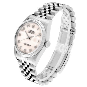 Rolex Datejust Steel White Gold Mother of Pearl Dial Mens Watch 16234
