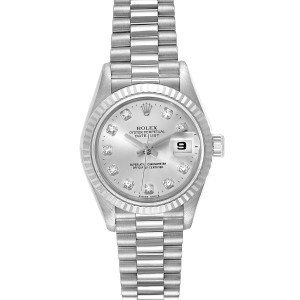 Rolex President Datejust 26 White Gold Diamond Ladies Watch 69179