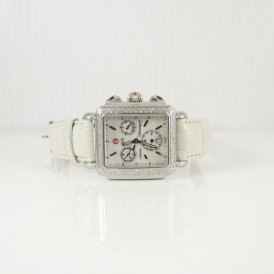 Michele Stainless Steel .66tcw Diamond Deco Chronograph White Strap Watch + 8 Additional Watch Straps