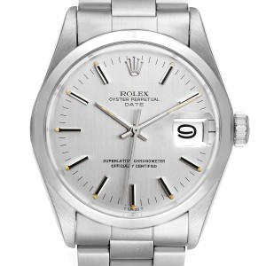 Rolex Date Stainless Steel Silver Dial Vintage Mens Watch 1500 Papers
