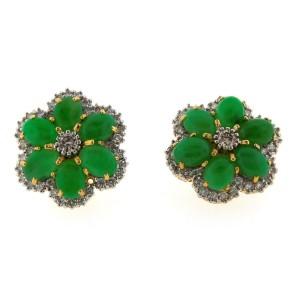 18K Yellow Gold Jade & Diamond Flower Earrings