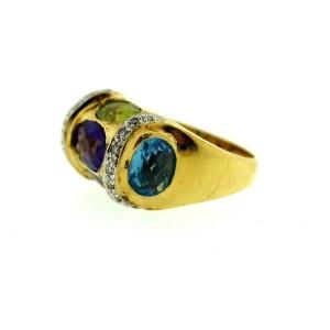 18K Yellow Gold Amethyst Peridot Citrine Topaz Diamond Garnet Ring