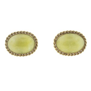 14K Yellow Gold Jade Cufflinks