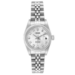 Rolex Datejust Steel White Gold Silver Diamond Dial Ladies Watch 79174