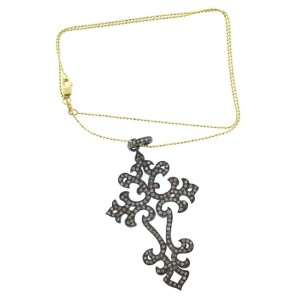 14K Yellow Gold & Diamond Cross Necklace