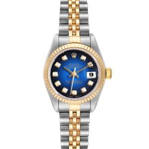Rolex Datejust Steel Yellow Gold Blue Vignette Diamond Ladies Watch 79173