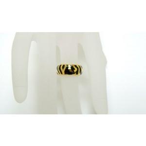 18K Yellow Gold & Black Enamel Band Tiger Ring