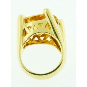 18K Yellow Gold Diamond & Citrine Heart Shaped Ring