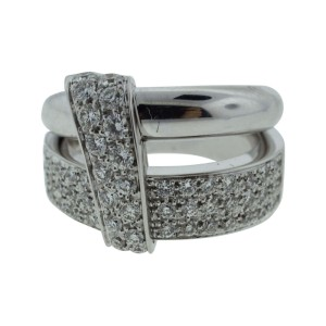 Asprey London 18K White Gold Wedding Band Engagement Diamond Ring