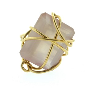 14K Yellow Gold Pink Quartz Ring